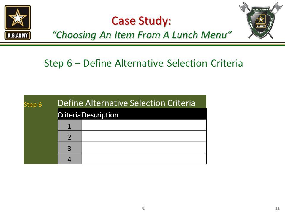 Case Study: Choosing An Item From A Lunch Menu