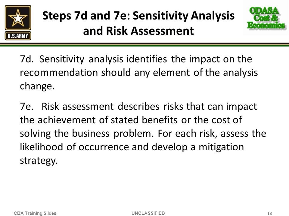 Steps 7d and 7e: Sensitivity Analysis and Risk Assessment
