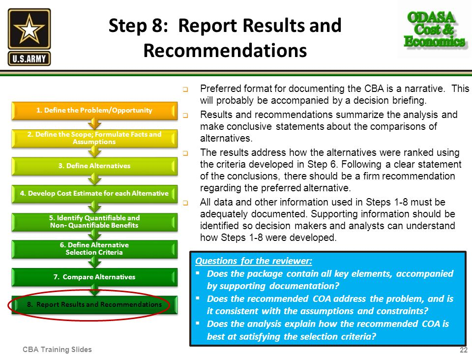 Step 8: Report Results and Recommendations