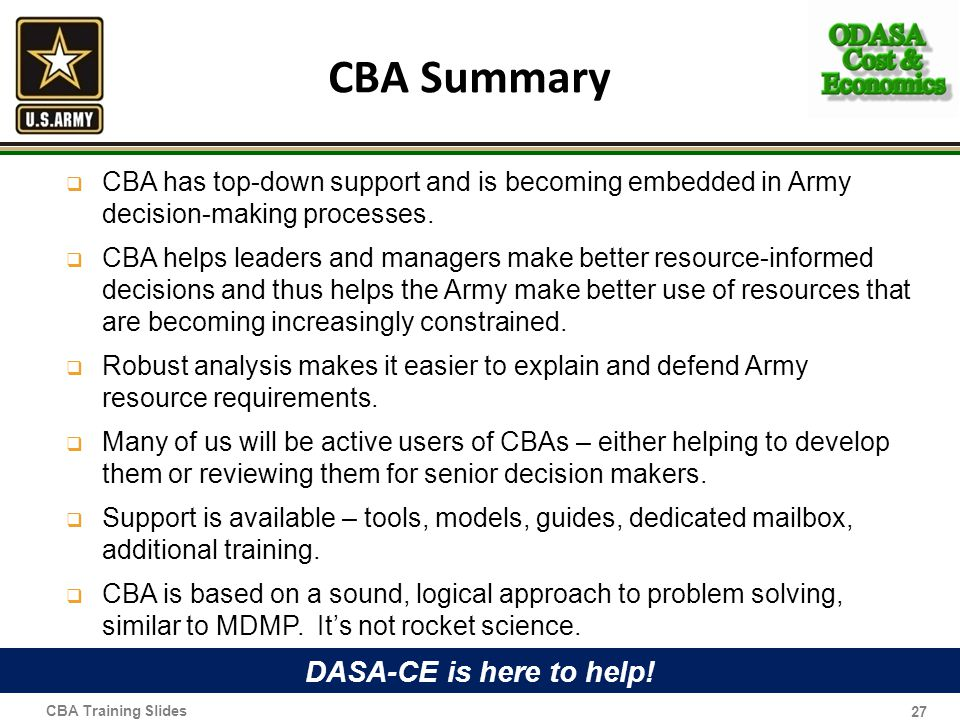 CBA Summary DASA-CE is here to help!