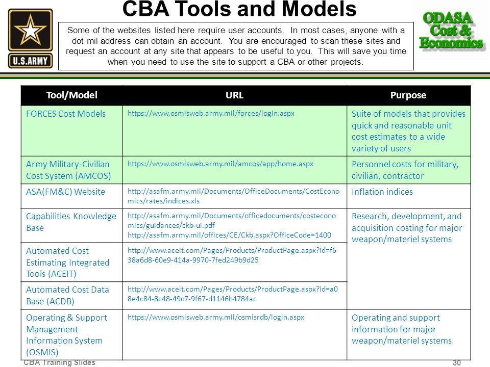 CBA Tools and Models