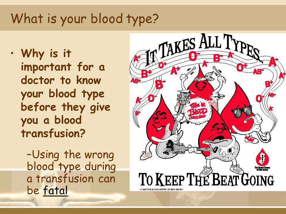 What is your blood type Why is it important for a doctor to know your blood type before they give you a blood transfusion