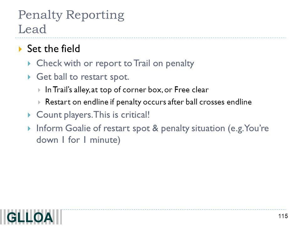 Penalty Reporting Lead