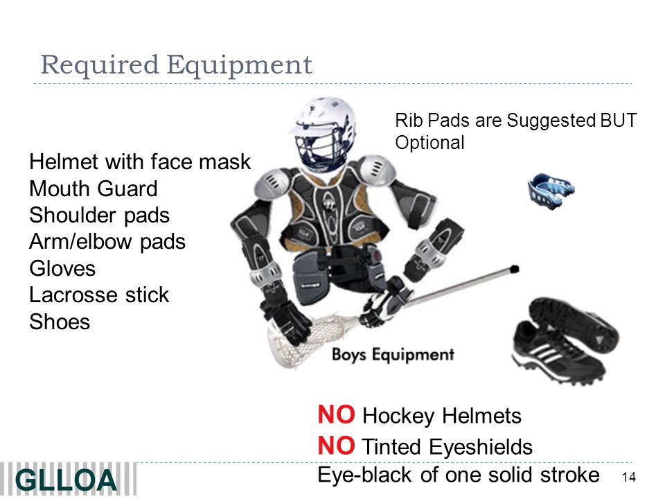 Required Equipment Rib Pads are Suggested BUT Optional. Helmet with face mask Mouth Guard Shoulder pads Arm/elbow pads Gloves Lacrosse stick Shoes.