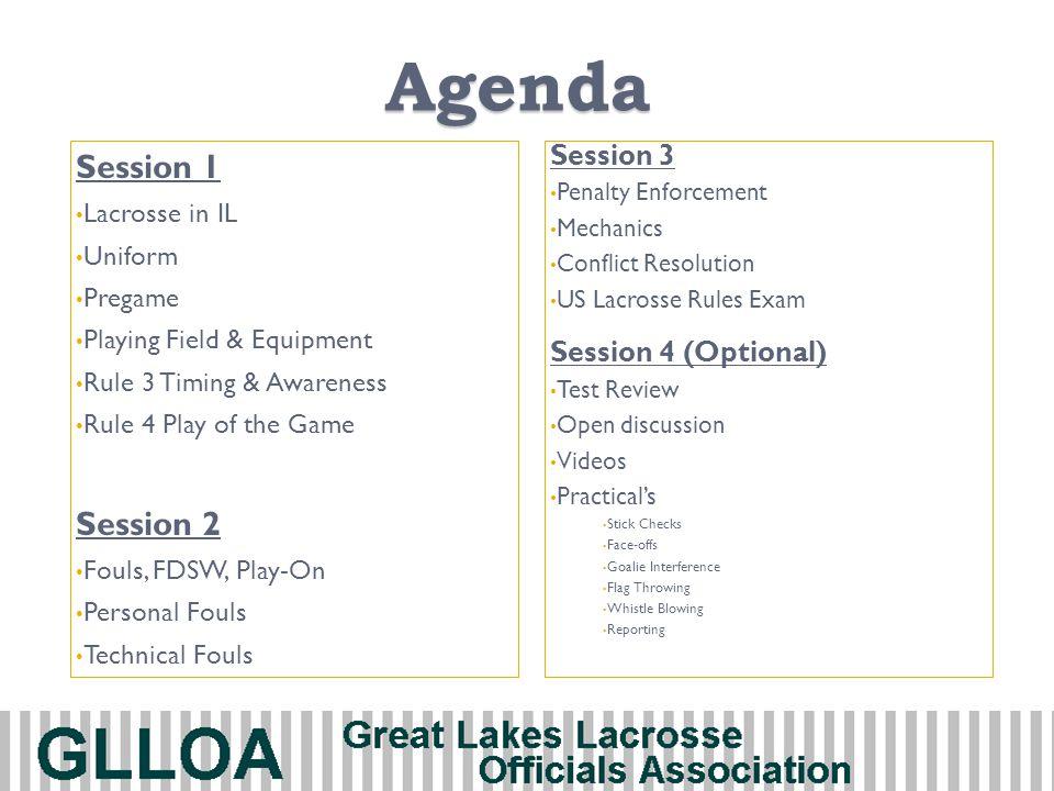 Agenda Session 1 Session 2 Session 3 Session 4 (Optional)