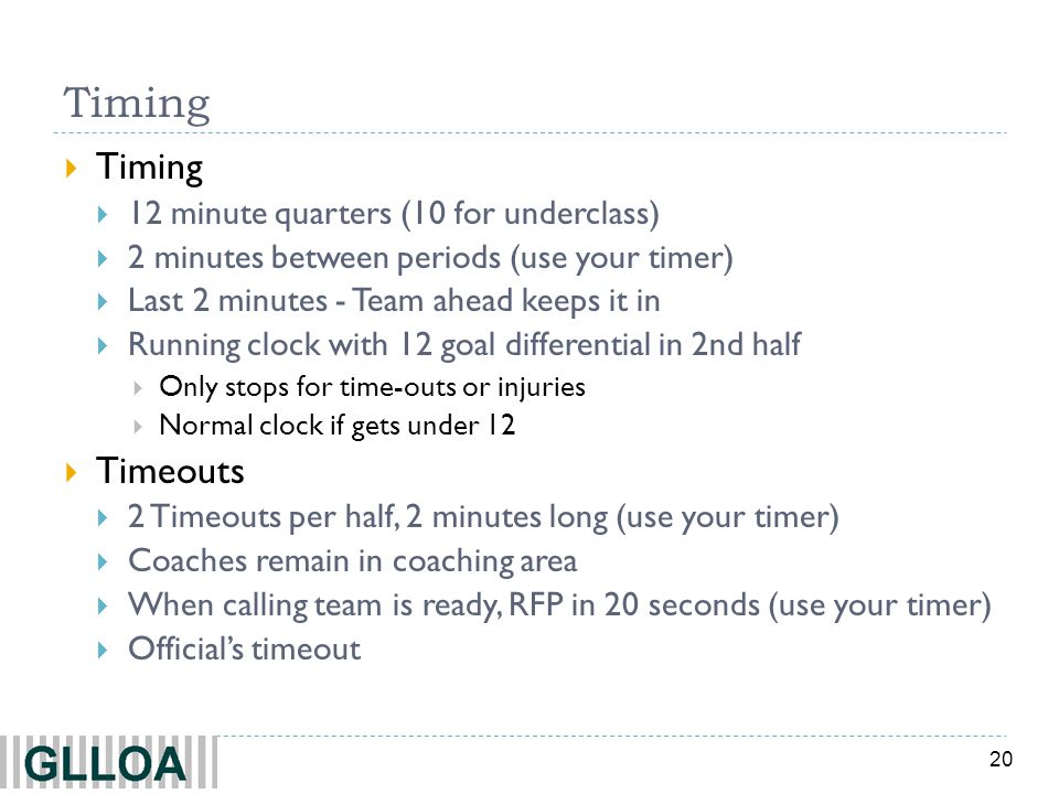 Timing Timing Timeouts 12 minute quarters (10 for underclass)