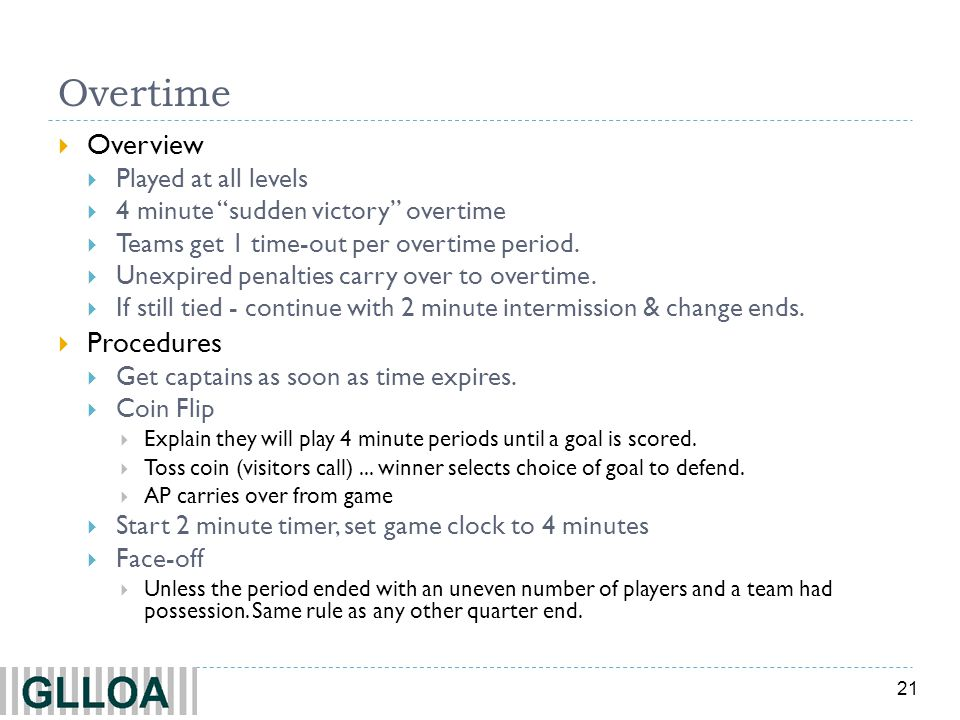 Overtime Overview Procedures Played at all levels