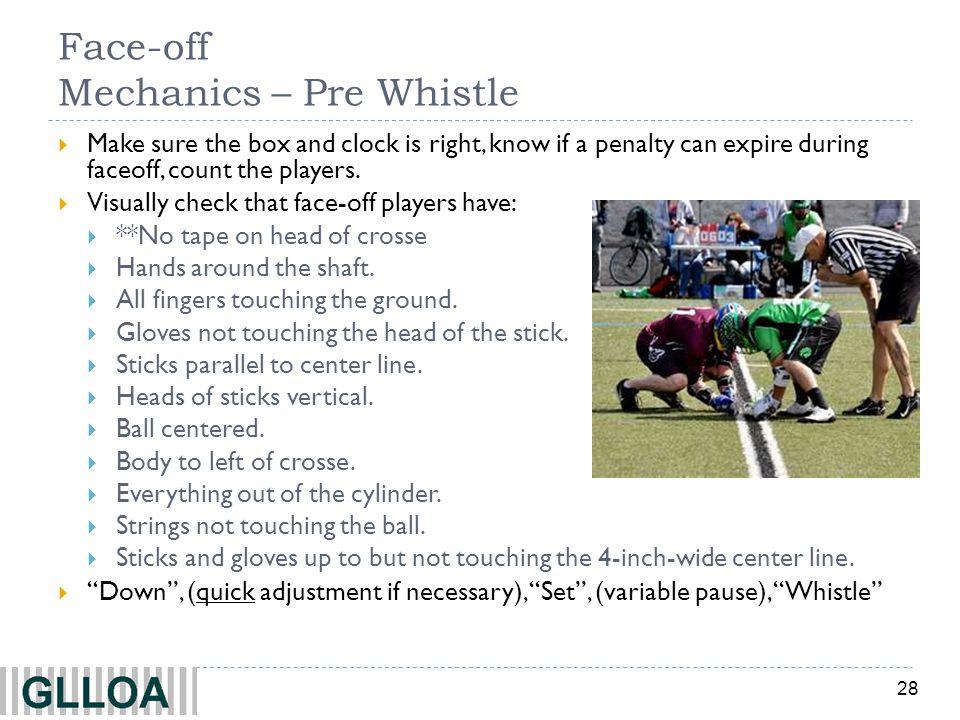 Face-off Mechanics – Pre Whistle