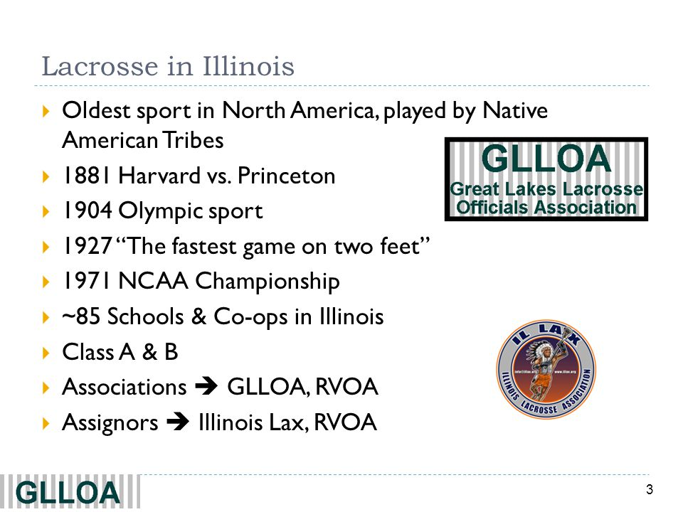Lacrosse in Illinois Oldest sport in North America, played by Native American Tribes. 1881 Harvard vs. Princeton.