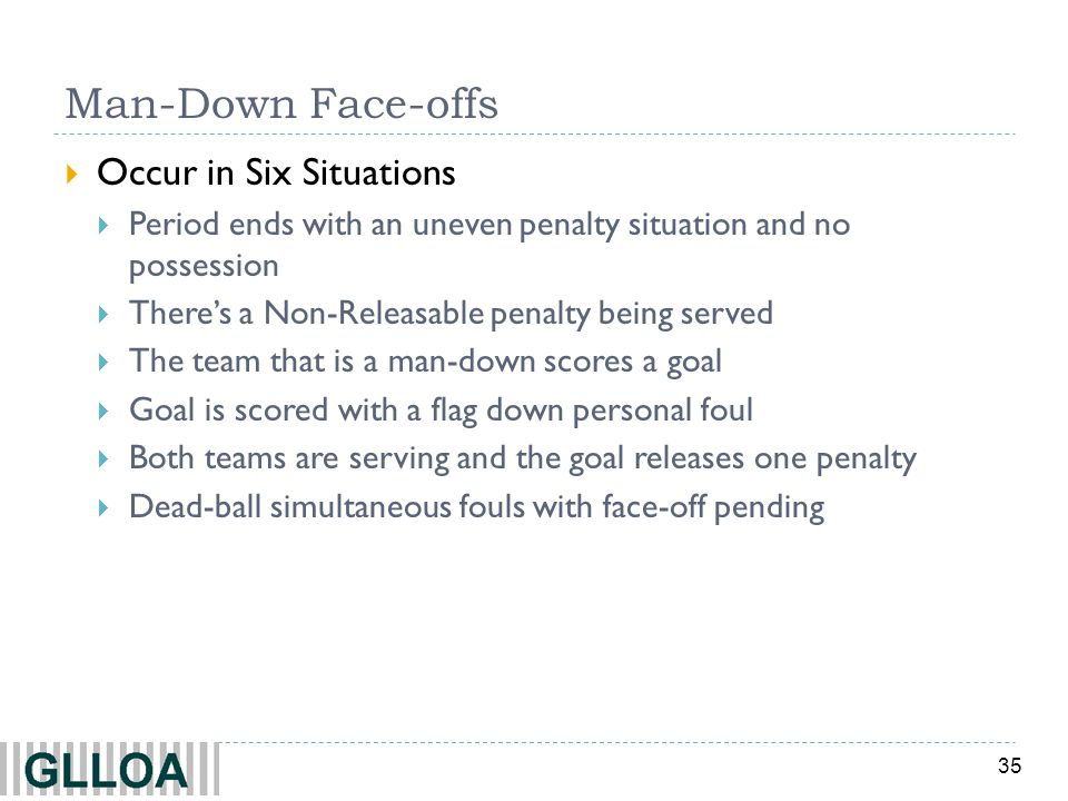 Man-Down Face-offs Occur in Six Situations
