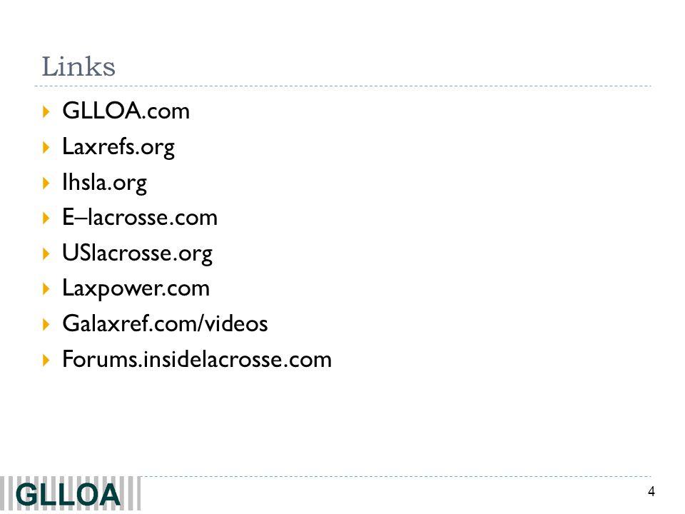 Links GLLOA.com Laxrefs.org Ihsla.org E–lacrosse.com USlacrosse.org