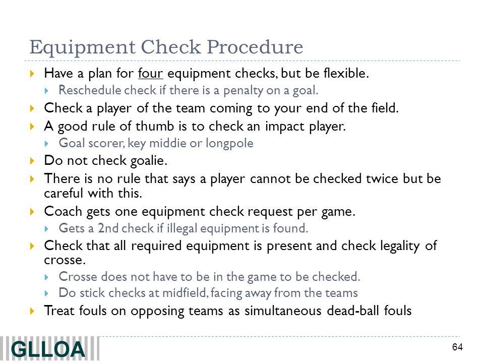 Equipment Check Procedure