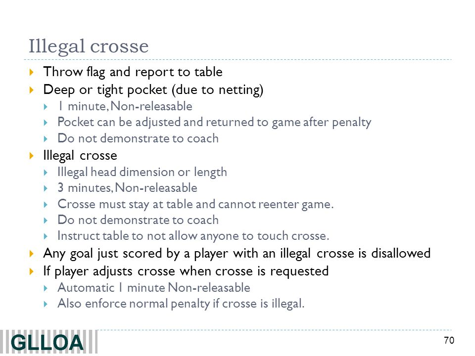 Illegal crosse Throw flag and report to table