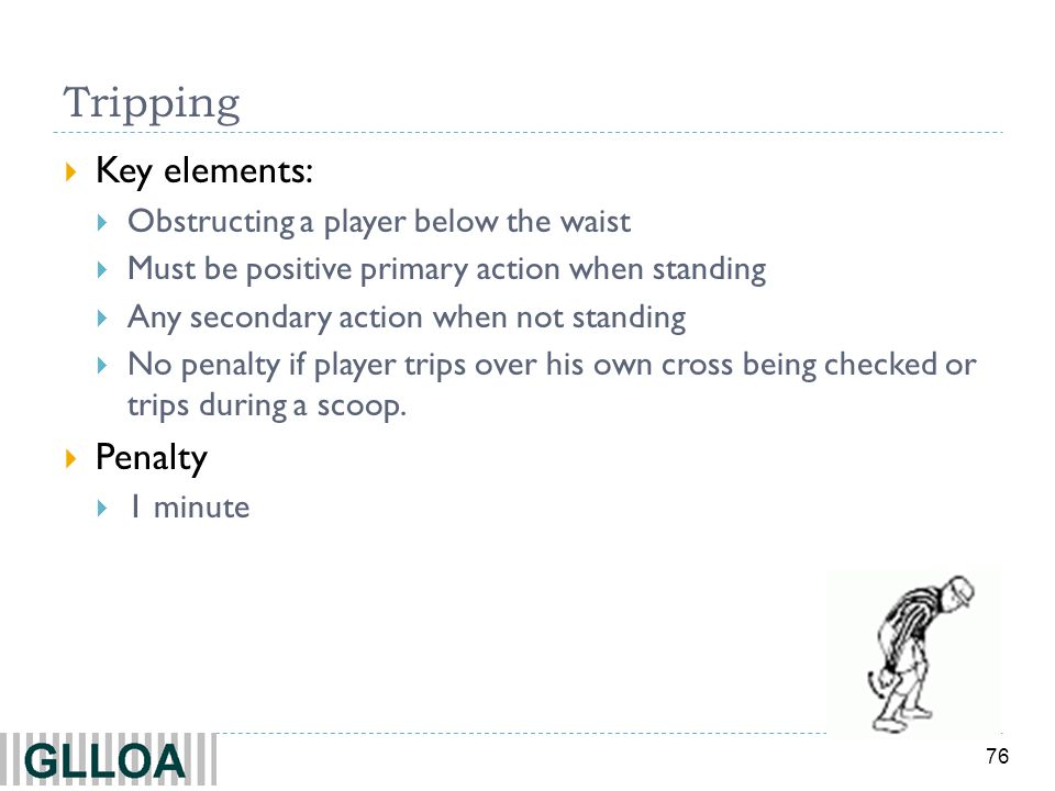 Tripping Key elements: Penalty Obstructing a player below the waist