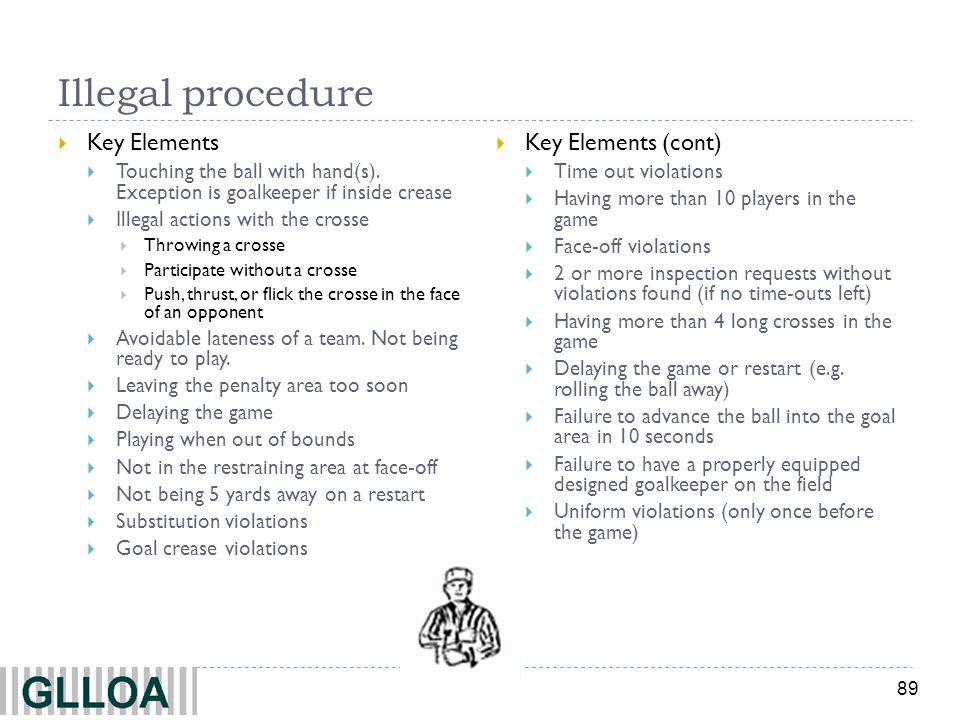 Illegal procedure Key Elements Key Elements (cont)