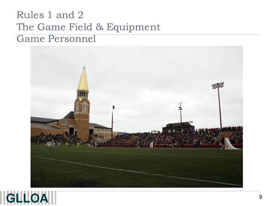 Rules 1 and 2 The Game Field & Equipment Game Personnel