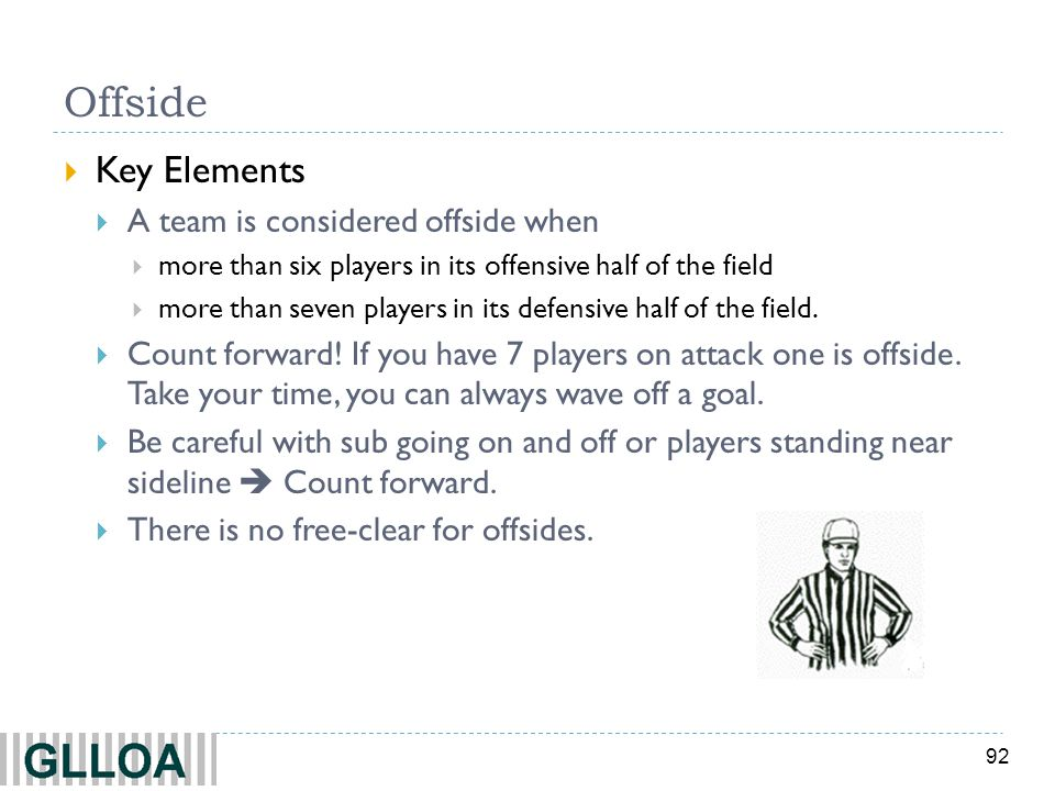 Offside Key Elements A team is considered offside when