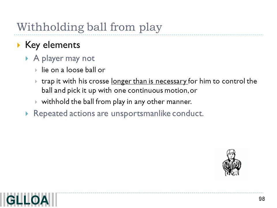 Withholding ball from play