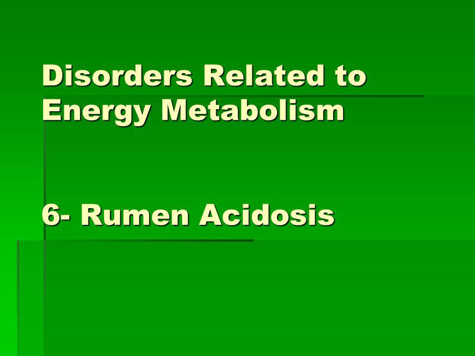 Disorders Related to Energy Metabolism 6- Rumen Acidosis