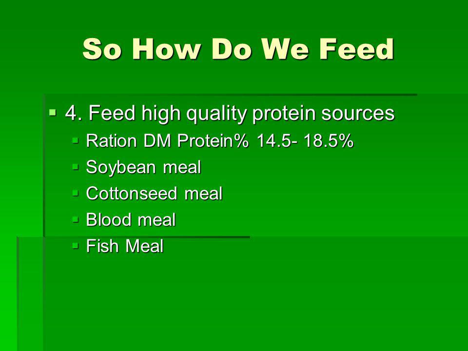 So How Do We Feed 4. Feed high quality protein sources