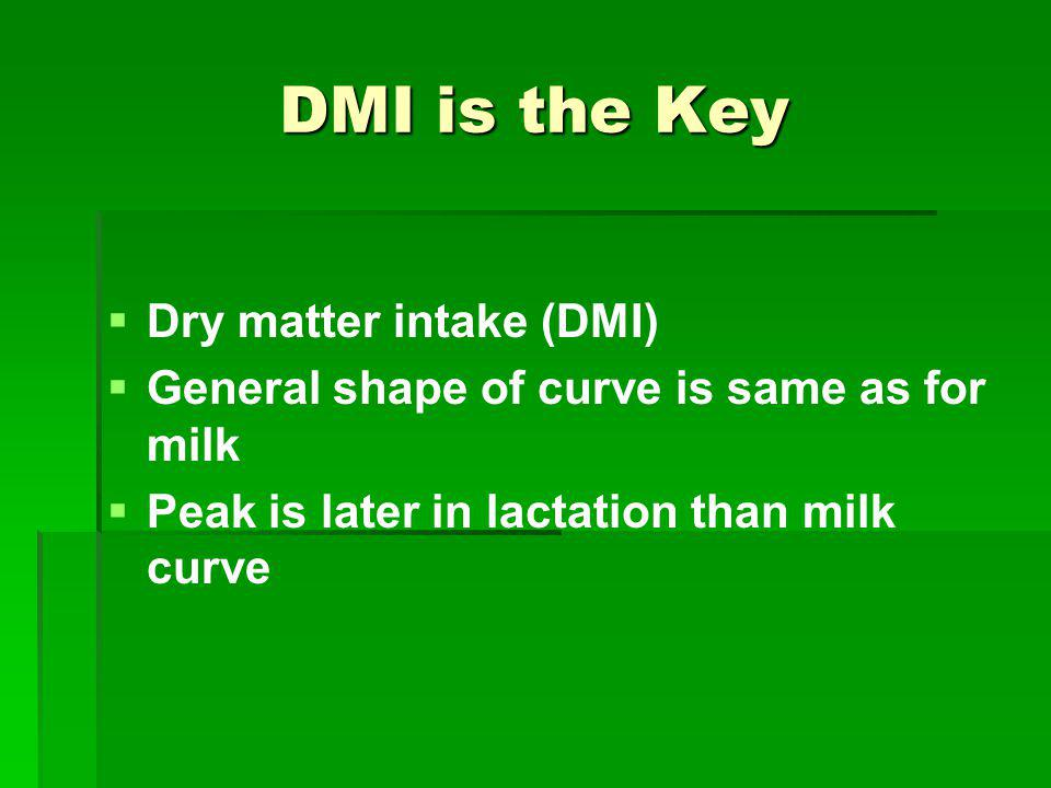 DMI is the Key Dry matter intake (DMI)