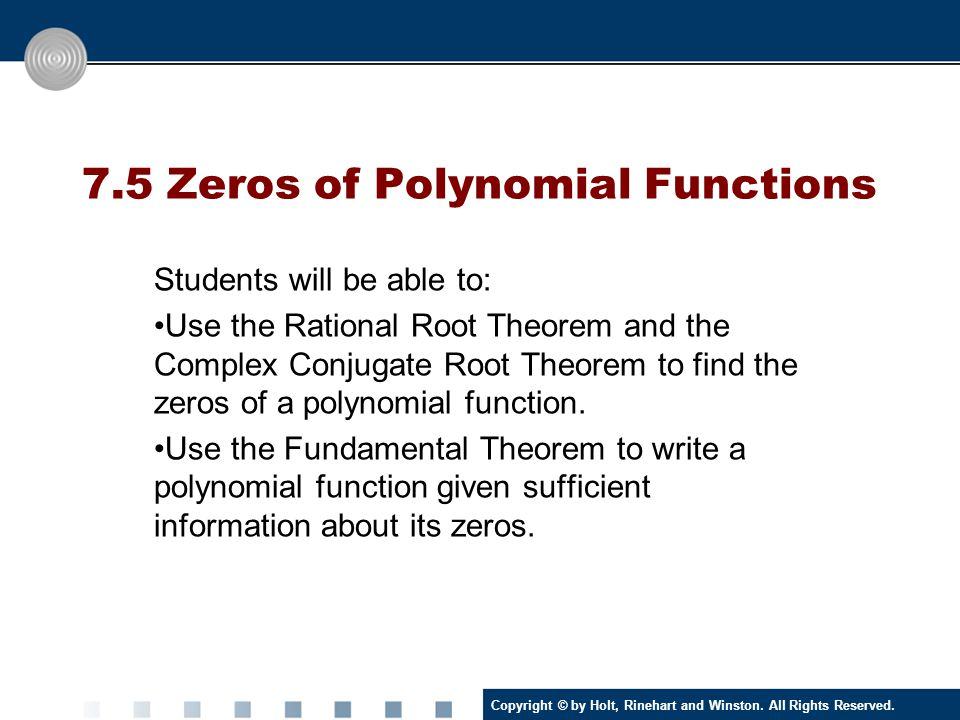 7.5 Zeros of Polynomial Functions