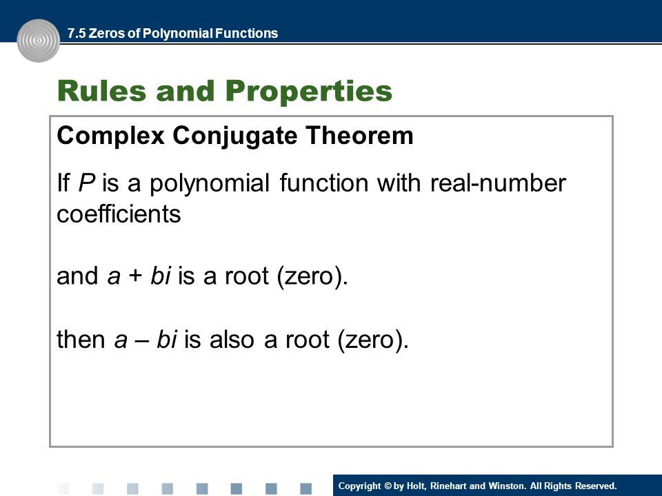 Rules and Properties Complex Conjugate Theorem