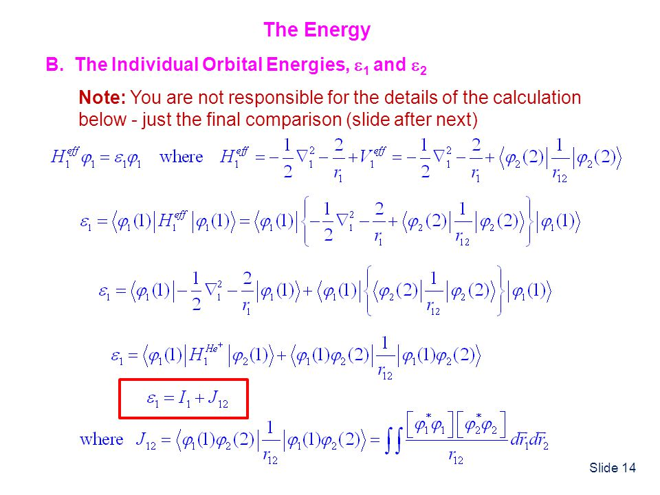 The Energy B. The Individual Orbital Energies, 1 and 2