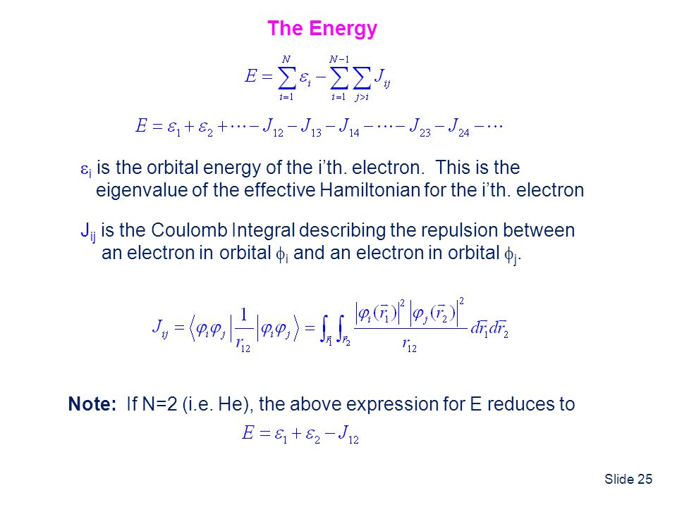 The Energy i is the orbital energy of the i'th. electron. This is the