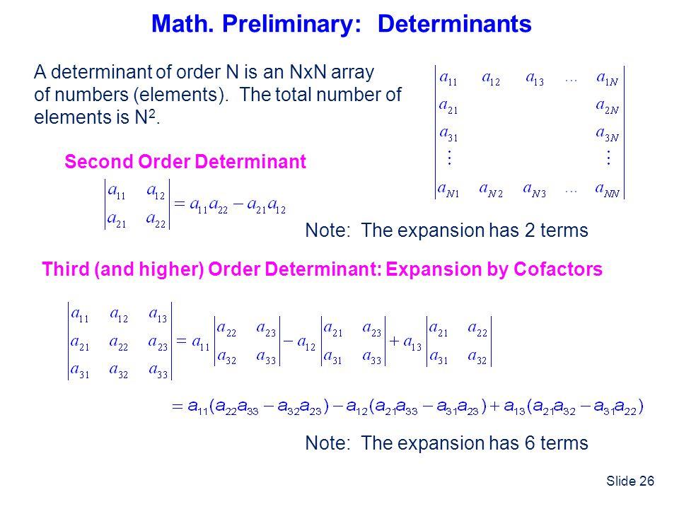 Math. Preliminary: Determinants