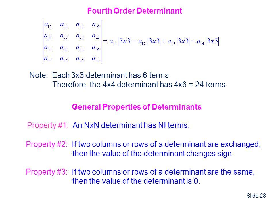 Fourth Order Determinant