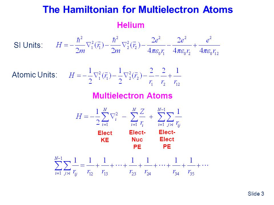 The Hamiltonian for Multielectron Atoms