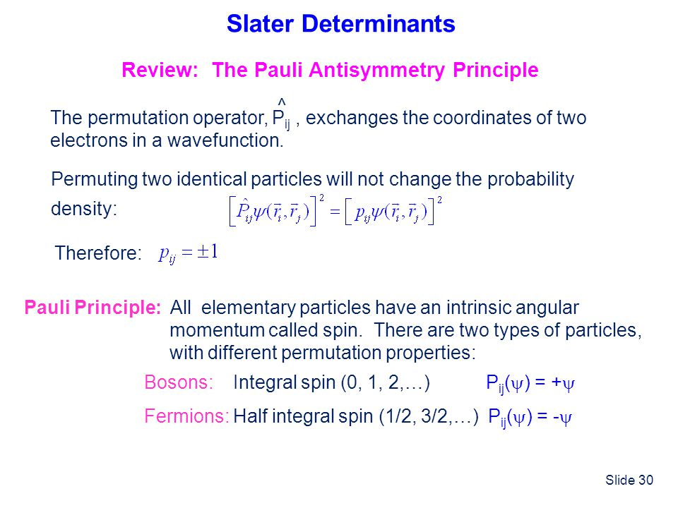 Slater Determinants Review: The Pauli Antisymmetry Principle ^