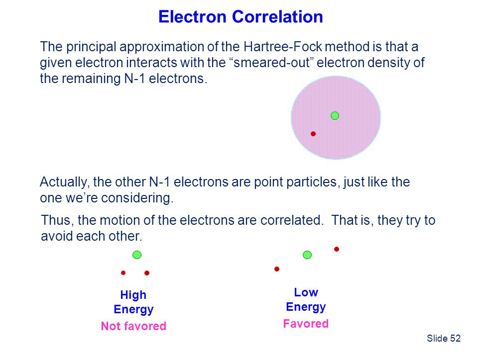Electron Correlation The principal approximation of the Hartree-Fock method is that a.