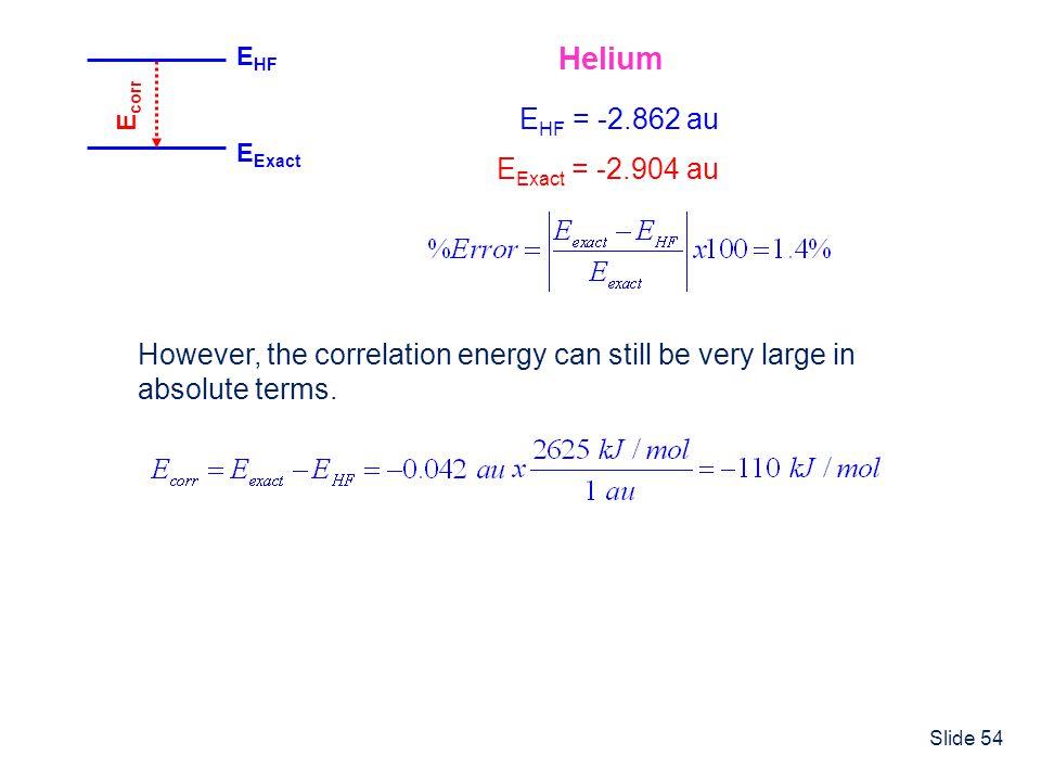 Helium EHF = -2.862 au EExact = -2.904 au