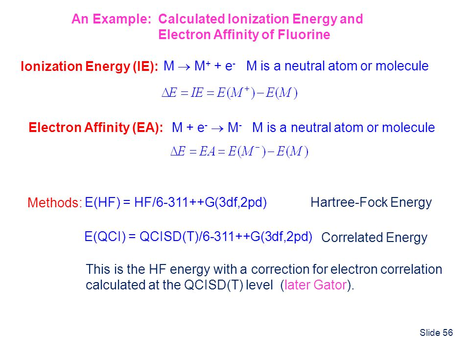 An Example: Calculated Ionization Energy and
