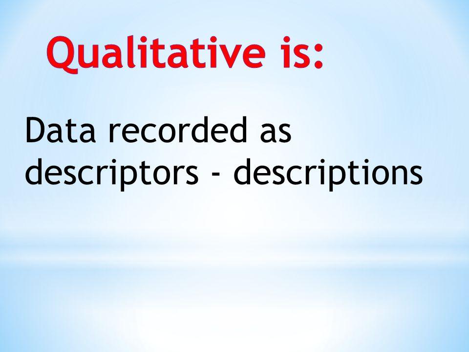 Qualitative is: Data recorded as descriptors - descriptions
