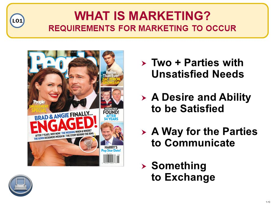 WHAT IS MARKETING REQUIREMENTS FOR MARKETING TO OCCUR