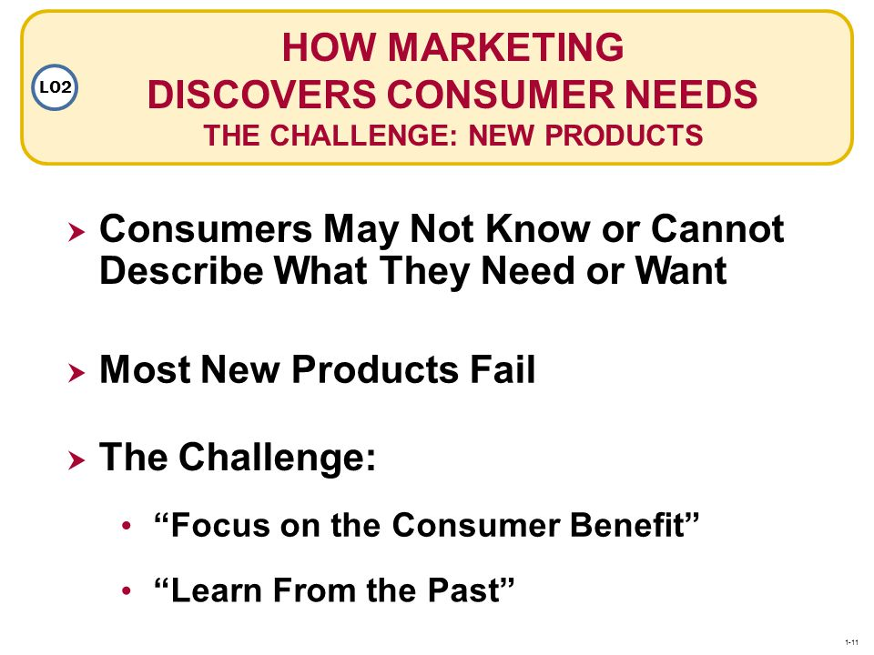 HOW MARKETING DISCOVERS CONSUMER NEEDS THE CHALLENGE: NEW PRODUCTS