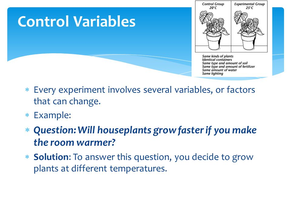Control Variables Every experiment involves several variables, or factors that can change. Example: