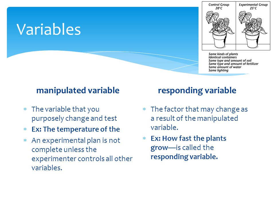 Variables manipulated variable responding variable