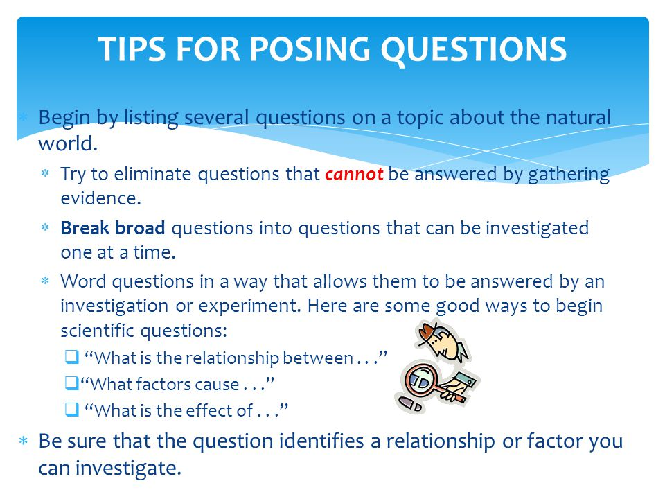 TIPS FOR POSING QUESTIONS