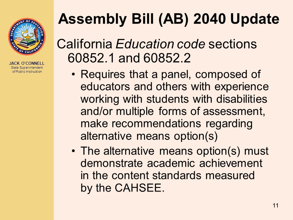 Assembly Bill (AB) 2040 Update