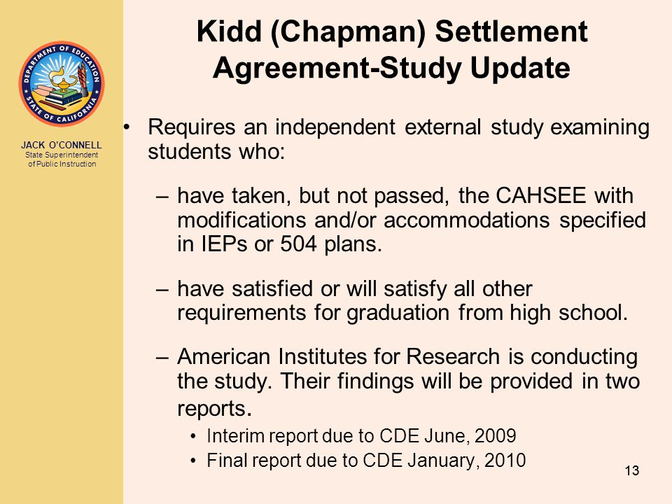 Kidd (Chapman) Settlement Agreement-Study Update
