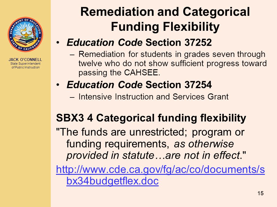 Remediation and Categorical Funding Flexibility