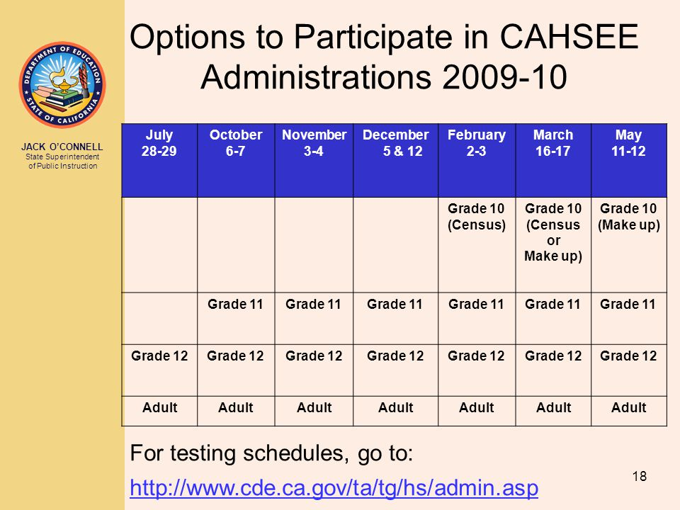 Options to Participate in CAHSEE Administrations 2009-10