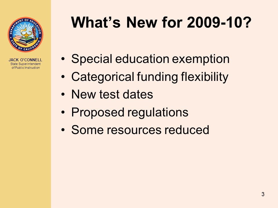 What's New for 2009-10 Special education exemption