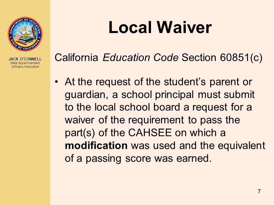 Local Waiver California Education Code Section 60851(c)