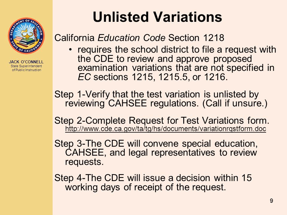 Unlisted Variations California Education Code Section 1218