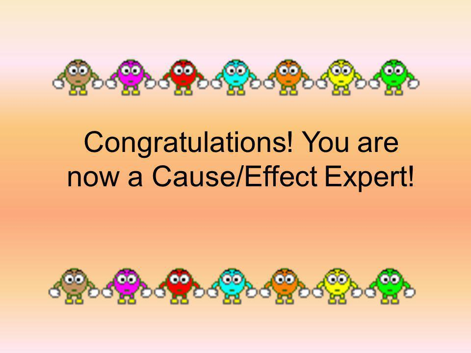 Congratulations! You are now a Cause/Effect Expert!